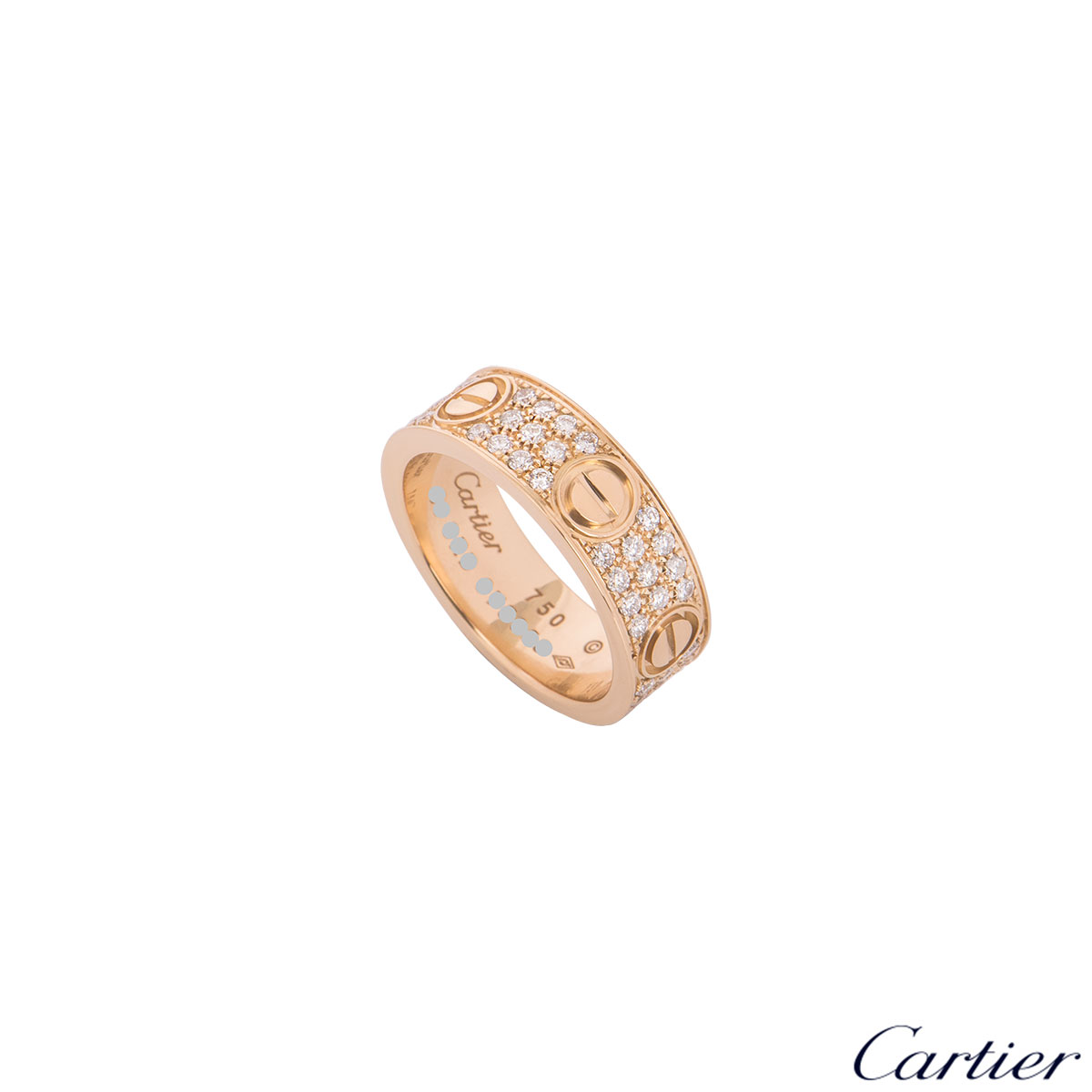 Cartier Rose Gold Pave Diamond Love Ring Size 51 B4087651